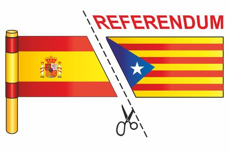 The Catalan pro-independence flag and the flag of Spain, with Referendum word and cut with scissors illustration.