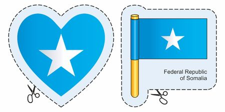 Flag of Somalia. Vector cut sign here, isolated on white. Can be used for design, stickers, souvenirs. Illustration