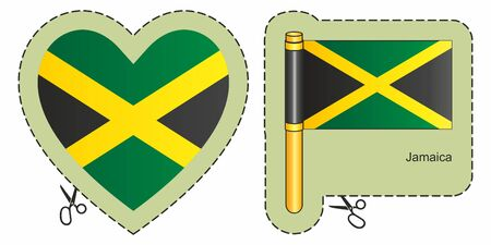 Flag of Jamaica. Vector cut sign here, isolated on white. Can be used for design, stickers, souvenirs.
