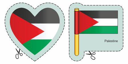 Palestinian flag. Vector cut sign here, isolated on white. Can be used for design, stickers, souvenirs.
