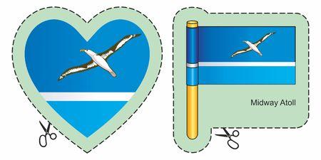 Vlag van de Midway-eilanden. Midway-atol, kleinere afgelegen eilanden van de Verenigde Staten. De vector sneed hier teken, dat op wit wordt geïsoleerd. Kan worden gebruikt voor ontwerp, stickers, souvenirs.