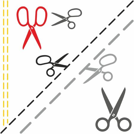 Scissors cutting paper on the dotted line. Vector icons.