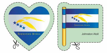 Vlag van Johnston Atoll, Kleine afgelegen eilanden van de Verenigde Staten. De vector sneed hier teken, dat op wit wordt geïsoleerd. Kan worden gebruikt voor ontwerp, stickers, souvenirs.