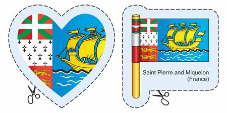 Flag of Saint-Pierre and Miquelon, Overseas Territories of France. Vector cut sign here, isolated on white. Can be used for design, stickers, souvenirs.