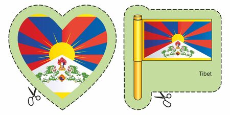 Flag of Tibet. Vector cut sign here, isolated on white. Can be used for design, stickers, souvenirs.