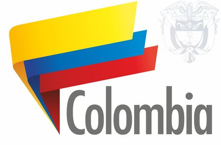 Flag of Colombia, vctor illustration. Colorful ribbon promotional products design.