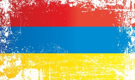 Flag of Armenia, Wrinkled dirty spots. Can be used for design, stickers, souvenirs Stock Photo