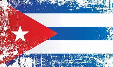 Flag of Cuba. Wrinkled dirty spots. Can be used for design, stickers, souvenirs.