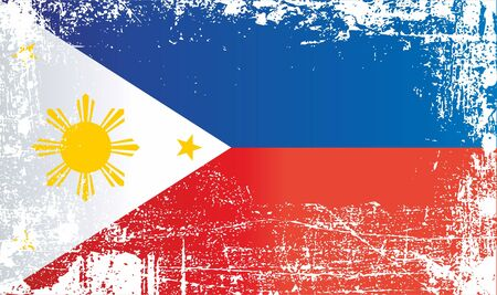 Flag of the Philippines, Republic of the Philippines, Wrinkled dirty spots. Can be used for design, stickers, souvenirs