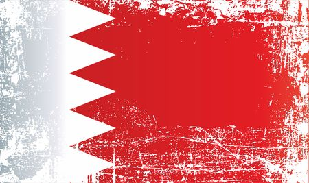 Flag of Bahrain, Kingdom of Bahrain, Wrinkled dirty spots. Can be used for design, stickers, souvenirs Stock Photo