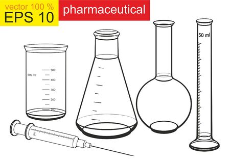 Chemical cups, pharmacist, medicine, syringe. Chemicals in laboratory glassware. Vector illustration.