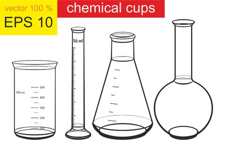Chemical cups. Chemicals in laboratory glassware. Vector illustration. Illustration