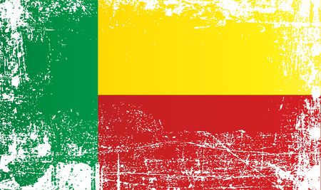 Flag of Benin. West Africa, Wrinkled dirty spots. Can be used for design, stickers, souvenirs