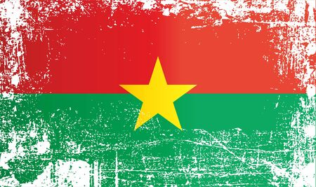Flag of Burkina Faso, Africa. Wrinkled dirty spots. Can be used for design, stickers, souvenirs