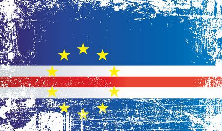 Flag of Cape Verde. Wrinkled dirty spots. Can be used for design, stickers, souvenirs