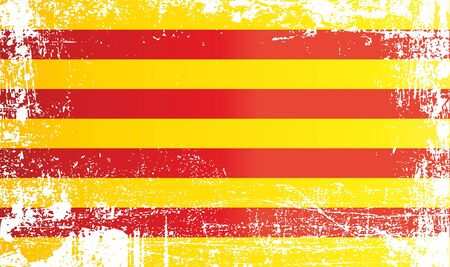 Flag of Catalonia, Senyera. Wrinkled dirty spots. Can be used for design, stickers, souvenirs