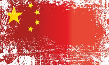 Flag of China, Peoples Republic of China. Wrinkled dirty spots. Can be used for design, stickers, souvenirs
