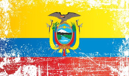 Flag of Ecuador. Wrinkled dirty spots. Can be used for design, stickers, souvenirs