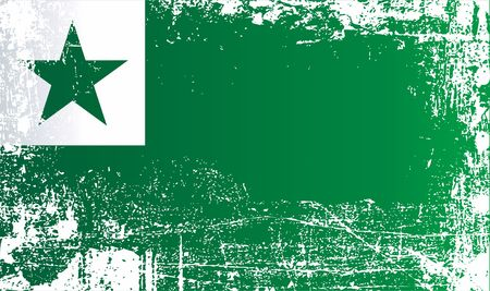 Esperanto flags. Wrinkled dirty spots. Can be used for design, stickers, souvenirs Stock fotó - 93524391