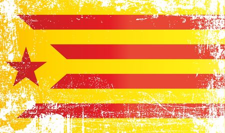 Flag of Catalan separatism, Estelada Blava, Kingdom of Spain. Wrinkled dirty spots. Can be used for design, stickers, souvenirs