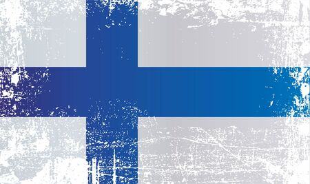 Flag of Finland. Wrinkled dirty spots. Can be used for design, stickers, souvenirs