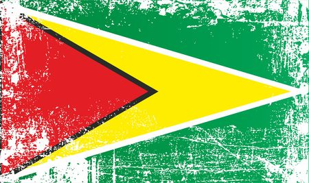 Flag of Guyana, Co-operative Republic of Guyana, Africa. Wrinkled dirty spots. Can be used for design, stickers, souvenirs
