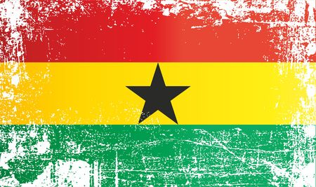 Flag of Ghana. Wrinkled dirty spots. Can be used for design, stickers, souvenirs