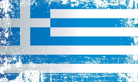 Flag of Greece, Hellenic Republic. Wrinkled dirty spots. Can be used for design, stickers, souvenirs Stok Fotoğraf