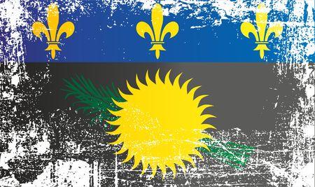 과들루프의 국기, 블랙 변형 된 국부적으로 사용되는 비공식 플래그. 주름진 더러운 곳. 디자인, 스티커, 기념품으로 사용할 수 있습니다.