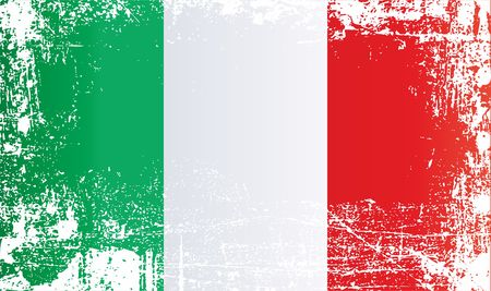 Flag of Italy, Italian Republic. Wrinkled dirty spots. Can be used for design, stickers, souvenirs