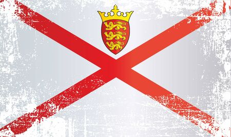Flag of Jersey, Bailiwick of Jersey. Wrinkled dirty spots. Can be used for design, stickers, souvenirs