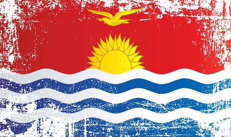 Flag of Kiribati. Wrinkled dirty spots. Can be used for design, stickers, souvenirs