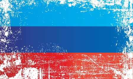 Flag of the Luhansk Peoples Republic. Wrinkled dirty spots. Can be used for design, stickers, souvenirs 스톡 콘텐츠