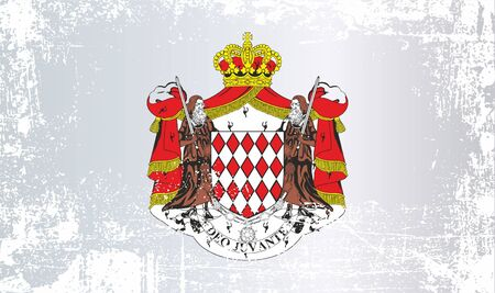 Flag of Monaco, Principality of Monaco. Wrinkled dirty spots. Can be used for design, stickers, souvenirs Фото со стока