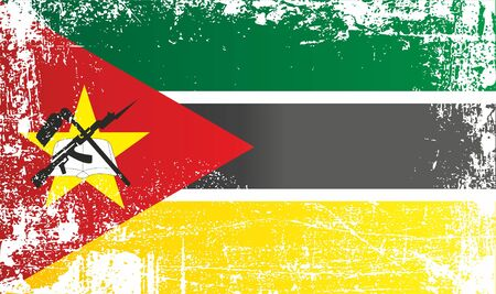 Flag of Mozambique, Africa. Wrinkled dirty spots. Can be used for design, stickers, souvenirs Stock fotó - 93697708
