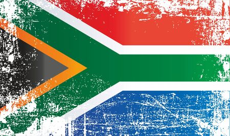 Flag of South Africa, Republic of South Africa. Wrinkled dirty spots. Can be used for design, stickers, souvenirs