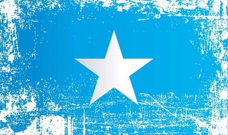 Flag of Somalia, Federal Republic of Somalia. Wrinkled dirty spots. Can be used for design, stickers, souvenirs