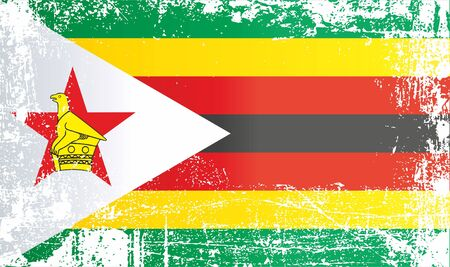 Flag of Zimbabwe, Africa. Wrinkled dirty spots. Can be used for design, stickers, souvenirs