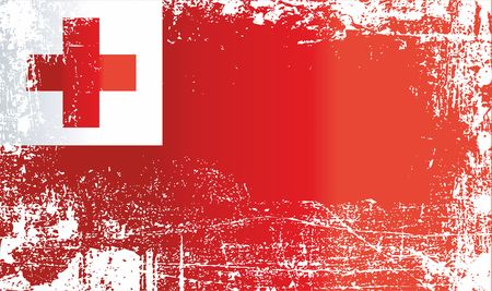 Flag of Tonga, Kingdom of Tonga. Wrinkled dirty spots. Can be used for design, stickers, souvenirs
