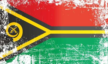 Flag of Vanuatu. Wrinkled dirty spots. Can be used for design, stickers, souvenirs