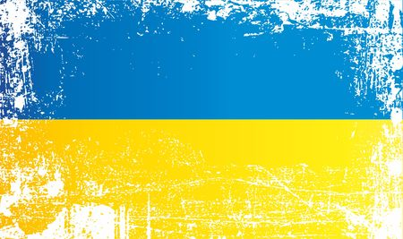 Flag of Ukraine. Wrinkled dirty spots. Can be used for design, stickers, souvenirs