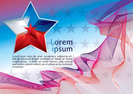 Star flag, Abstract modern wave background. Vector background made of lines, Geometric abstract background element line, star