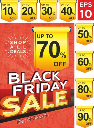 Black Friday sale banner layout design with yellow discount tag