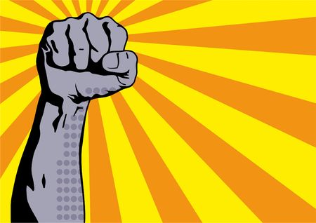 Fist male hand, proletarian protest symbol. Clenched fist held in protest. Power sign. Vector illustration