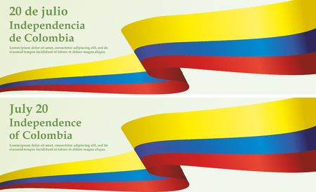 July 20, Declaration of Independence of Colombia. Flag of Colombia. Bright, colorful vector illustration