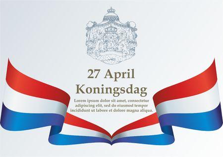 Flag of the Netherlands, Kings Day, Koningsdag Nederland. Kingdom of the Netherlands. Bright, colorful vector illustration Çizim