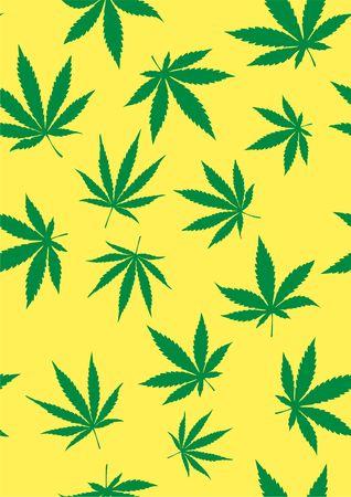 Seamless pattern of marijuana leaves. Vector template Cannabis Sativa leaf for design, card, invitation, placard, brochure, flyer