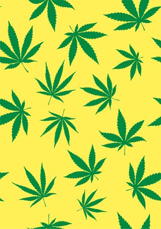 Seamless pattern of marijuana leaves. Vector template Cannabis Sativa leaf for design, card, invitation, placard, brochure, flyer