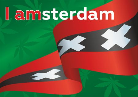 I AMSTERDAM poster template to promote tourism  イラスト・ベクター素材