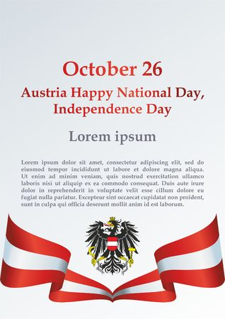 Flag of Austria, Declaration of Neutrality, Austria Independence Day, 26 October. Bright, colorful vector illustration